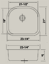 undermount single d bowl drawing